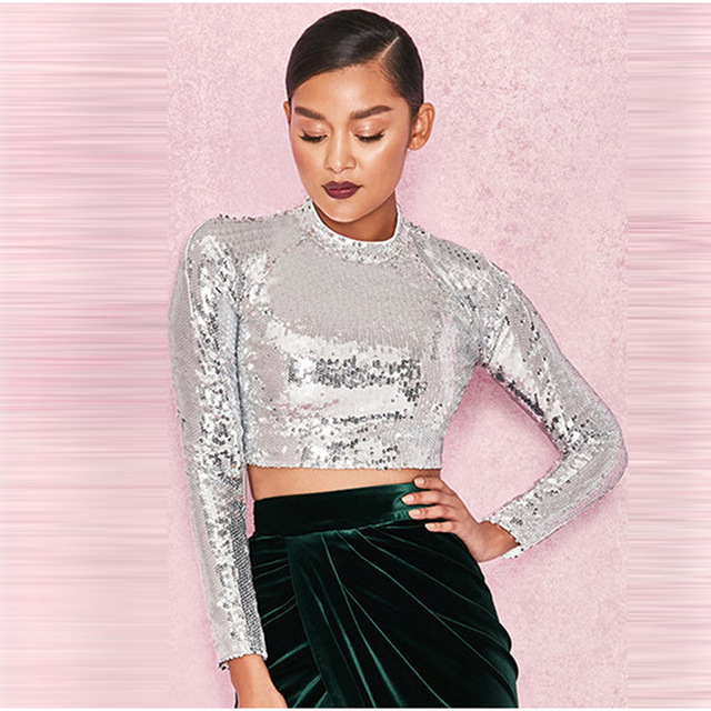 71be4d75f83ecb BKLD 2018 Sexy Short T Shirt Women Turtleneck Cool Lady Tops Fashion  Glitter Crop Tops Long Sleeved Sequin Tshirt Women Slim Tee