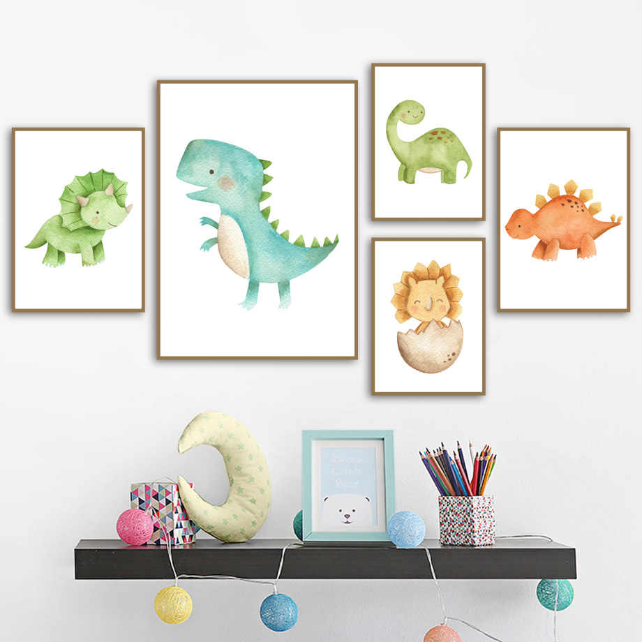 Cute Dinosaur Tyrannosaurus Stegosaurus Nordic Posters And Prints Wall Art Canvas Painting Wall Pictures Baby Kids Room Decor