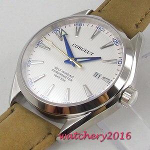 Image 4 - 41 มม.Corgeut ขาว Dial สแตนเลสสตีลแก้วไพลินสีฟ้ามือการเคลื่อนไหวอัตโนมัติ Miyota นาฬิกาผู้ชาย