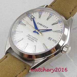 Image 4 - 41 ミリメートル corgeut ホワイトダイヤルステンレススチールケースサファイアガラスブルー手御代田自動移動メンズ腕時計