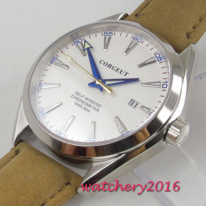 Image 4 - 41mm Corgeut White Dial Stainless steel Case Sapphire Glass Blue Hand Miyota Automatic Movement mens Watch