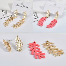 Korean character leaf earrings earring eardrop alloy accessories DIY handmade jewelry materials 6 pieces