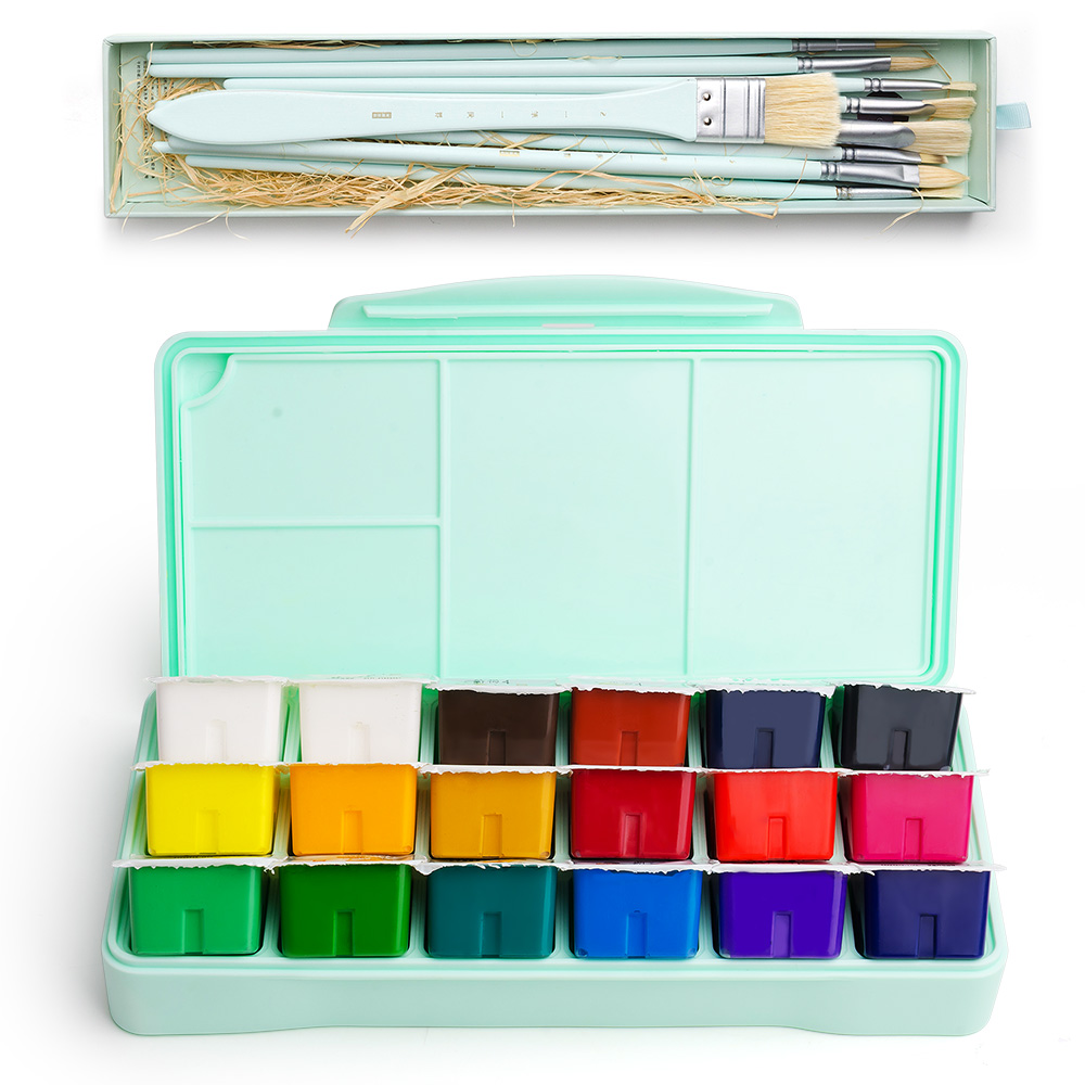 Case Palette Painting Gouache-Paint-Set MIYA Artists Students 18-Colors Portable 30ml