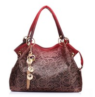 Fashion women bag ladies pu leather tote bag hollow out ombre handbag floral print shoudler bags hot sell