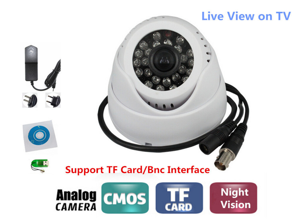 No need Layout BNC Motion Detection Night Vision Home Security DVR Dome Camera TF Card Slot  Support Loop Recording/TV Live View bnc м клемма каркам
