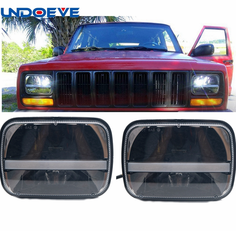 5 x 7inch Rectangular LED Headlights w/DRL Turn Signal for Jeep Wrangler YJ Cherokee XJ Trucks Offroad Headlamp Replacement universal black 3 76mm polished aluminum fmic intercooler piping kit diy pipe length 450mm for jeep cherokee xj ep lgtj76 450