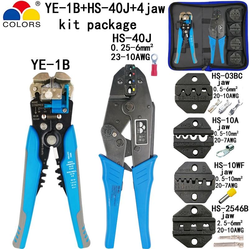 Nett Hs-40j Crimpen Zangen Stripper Werkzeuge Kit Hs-03bc/10a/10wf/2546b Backe Für Isolierung Nicht-isolierung Rohr Pulg Mc4 Terminals Waren Des TäGlichen Bedarfs Handwerkzeuge