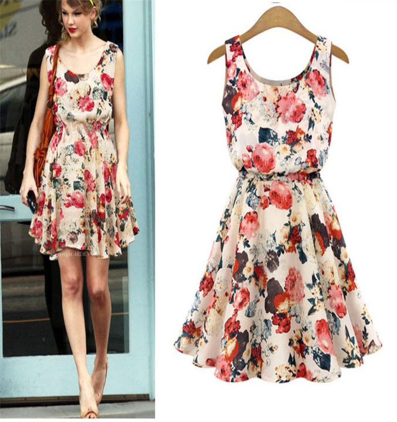 New Printed Dress Europe and America Waist Chiffon sleeveless vest dress spring and summer college style girl fashion leisure image