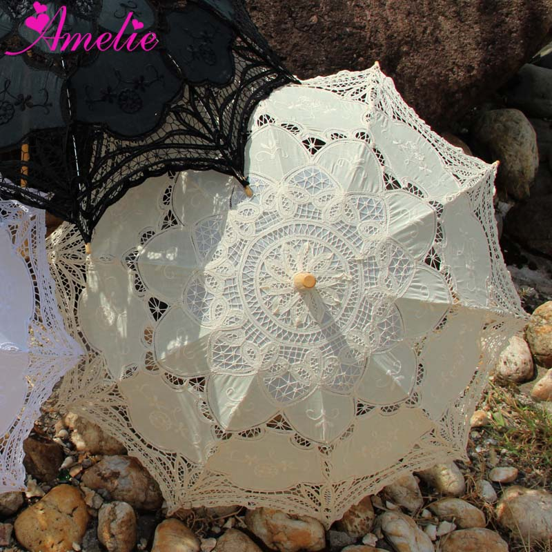 10pcs Lot Factory Sell Victorian Forest Wedding Lace Parasol Umbrella White Beige Black Umbrella Party Gifts
