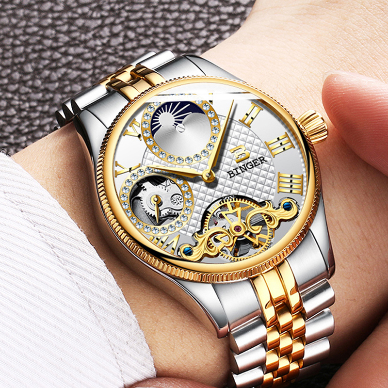 Skeleton Tourbillon Mechanical Switzerland Men Watches Top Brand Luxury Aesop Automatic Watch Moon Phase Sport Male Clock NEW