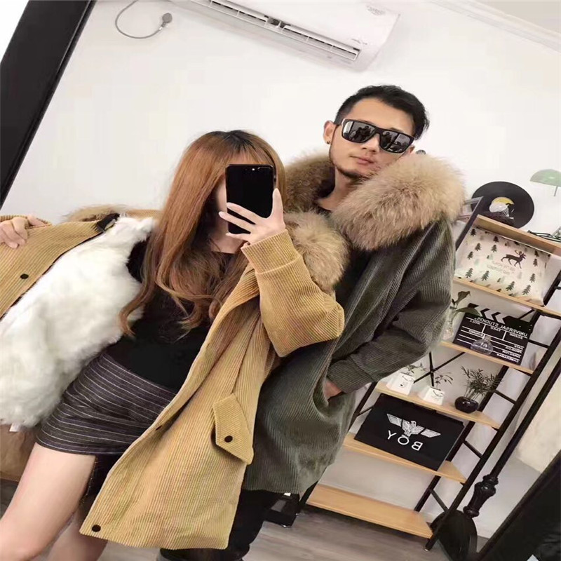 5 colors 2017 new long fur coat parka Winter jacket women Corduroy Big real raccoon fur collar warm natural fox fur liner 2017 winter new clothes to overcome the coat of women in the long reed rabbit hair fur fur coat fox raccoon fur collar