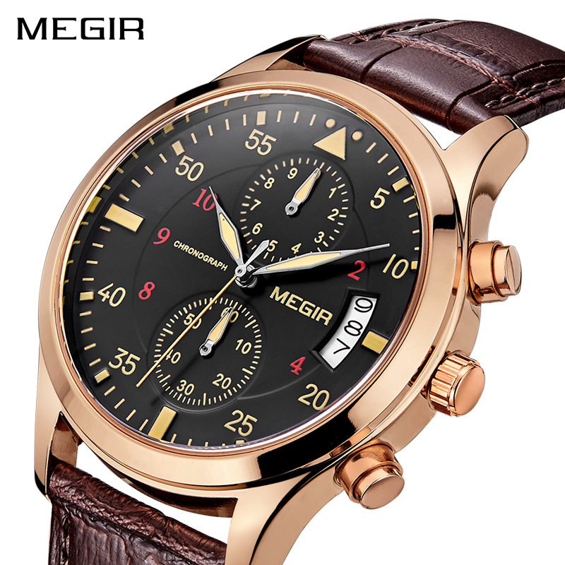 MEGIR Men Military Sports Wristwatches Men's Fashion Luxury Quartz Watch Leather Waterproof Watches Clock Male Relogio Masculino new listing men watch luxury brand watches quartz clock fashion leather belts watch cheap sports wristwatch relogio male gift