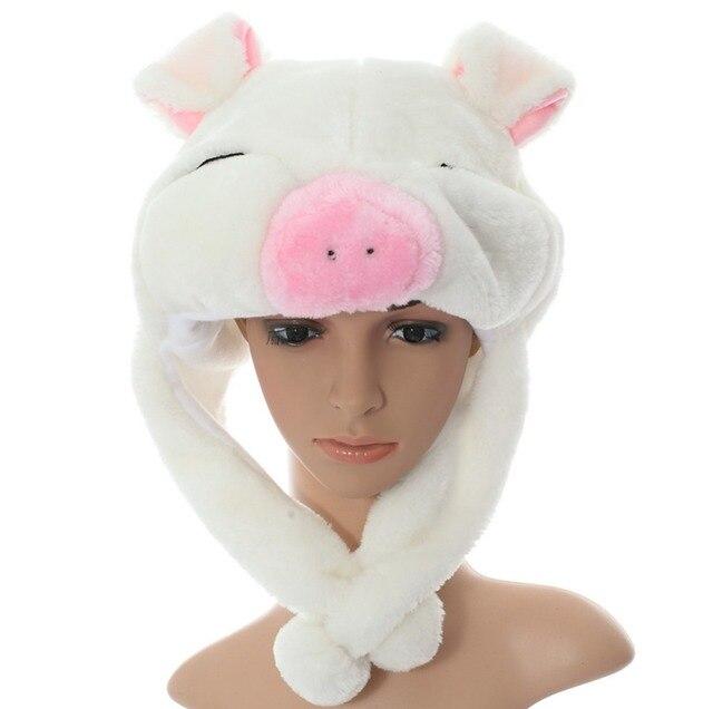 DOUBCHOW 2016 Nuovi Paraorecchie Bianco Rosa Piggy Simpatico Peluche Cappelli  Animali Adolescenti Adulti Mens Womens Capretti ca0992c7b947