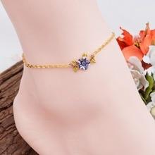 DoreenBeads 2016 Summer Bohemia Anklets Purple Flower Rhinestone Fashion Woman Jewelry 21cm 1Piece