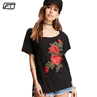 Fitaylor Summer Plus Size Harajuku Black Casual T Shirt Women Top O Neck Short Sleeve Appliques