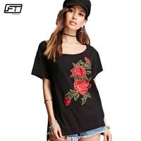 Fitaylor Summer Plus Size Harajuku Black Casual T Shirt Women Top O Neck Short Sleeve Appliques