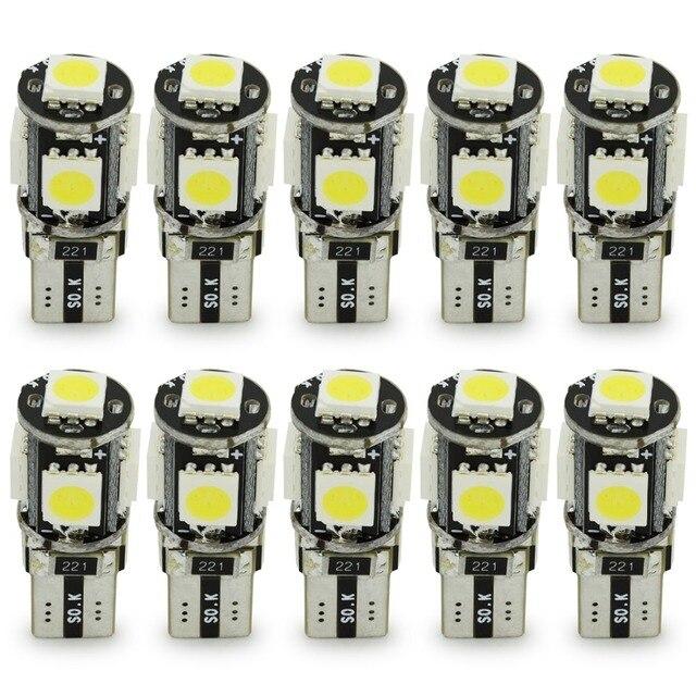 Safego 10 шт. светодиодный Canbus T10 W5W 194 168 автомобильные лампочки 5 SMD 5050 чипы лампы с плоским цоколем автомобиля для чтения сигнальная лампа белый