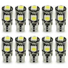 10 pcs white color led t10 5smd car interior reading light, indicator Map lights w5w 5050  657 1250 1251 1252