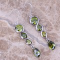 Noblest Green Peridot 925 Sterling Silver Drop Dangle Earrings For Women  S0207