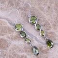 Nobre Verde Peridot 925 Sterling Silver Gota Brincos Pendurados Para As Mulheres S0207