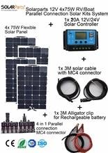 Solarparts 4x75W DIY RV Boat Kits Solar System 4 x75W flexible solar panel 1x 20A solar