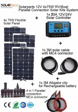 Solarparts 4x75W DIY RV/Boat Kits Solar System 4 x75W flexible solar panel 1x 20A solar controller 1 set 3M MC4 cable 1 set clip