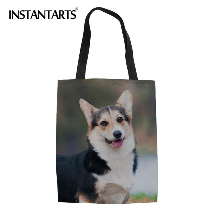3D Puppy Dog Print Woman's Designer Shopper Bag Welsh Corgi Linen Tote Canvas Lady