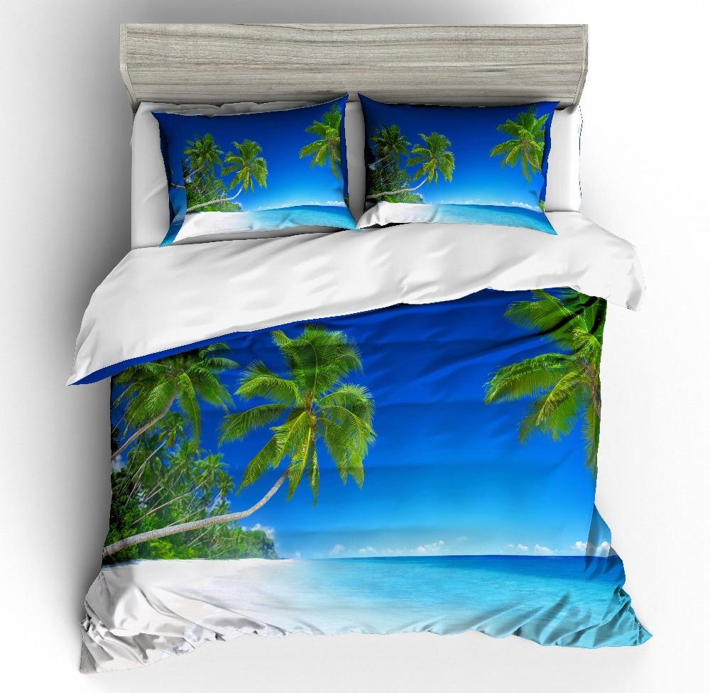 MUSOLEI 3D Duvet Cover Set Beach, green coconut trees, white sand beaches, blue sea water Bed Sheet Twin queen kingMUSOLEI 3D Duvet Cover Set Beach, green coconut trees, white sand beaches, blue sea water Bed Sheet Twin queen king