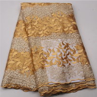 Newest Design French Net Lace Fabric Gold Color African Tulle Mesh Lace Fabric With Stones And