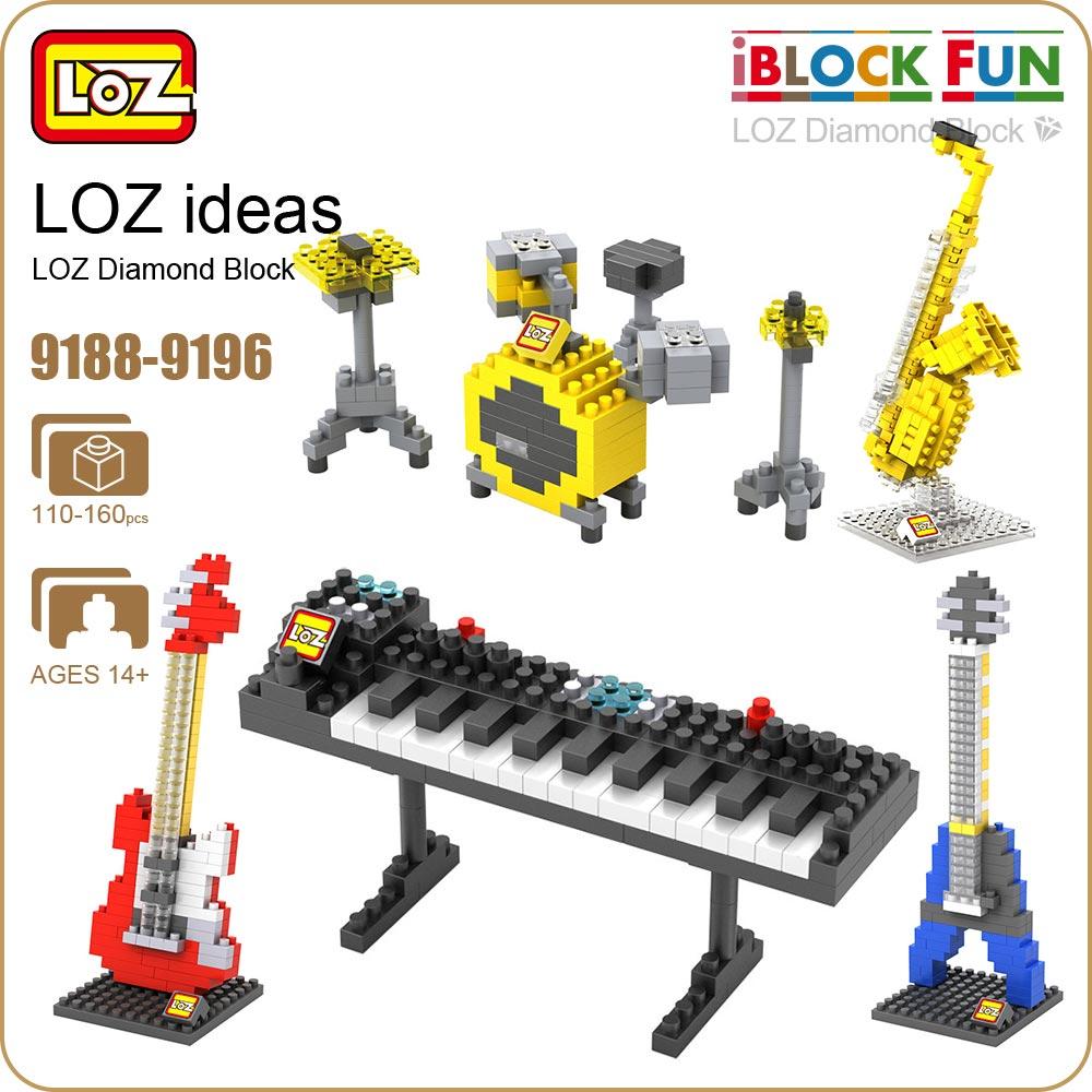 LOZ Diamond Blocks Miniature Musical Instruments Music Guitar Piano Violin Jazz Sauce Model Plastic Assembly font