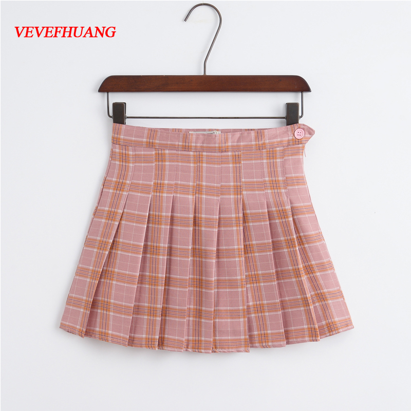 VEVEFHUANG Women New Sweet High Waist Half Skirt Short Skirts Japanese School Pleated Plaid Skirt Sport Tennis Skirts Female