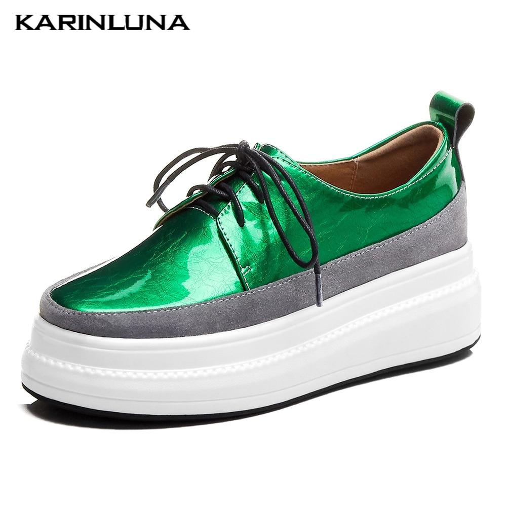 KARINLUNA Brand Design Genuine Cow Leather Flat Platform Shoes Woman Flats Shoelaces INS Hot Flats Woman Shoes Footwear