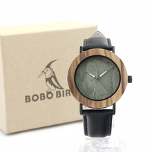 BOBO BIRD E23 Mens Fashion Causal White Green Wood Dial with Bezel Ring Watch Japan Quartz Movement Wrist Watch