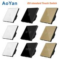 AoYan EU UK Standard 1 Gang 2 Gang 3 Gang 1 Way Wall Touch Switch Luxury