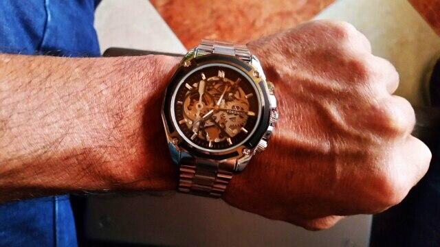 Forsining steampunk mecânica moda masculina relógio de