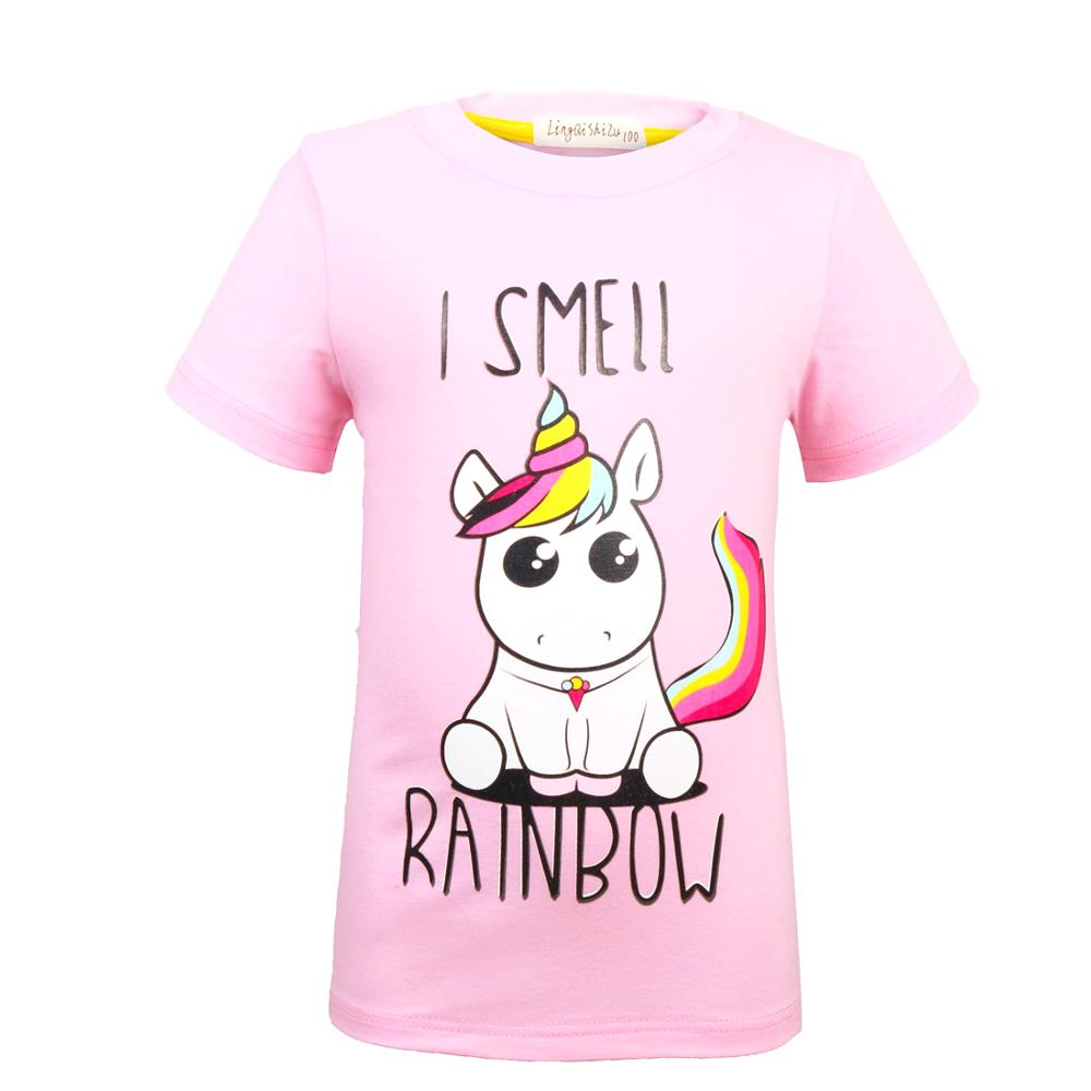 Unicorn Tshirt Tops Short-Sleeve Girls Cotton Cartoon Cute for 0003