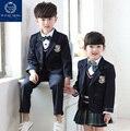 Calidad Británica Plaids Azul Marino Estudiante Muchachas de Los Muchachos Niños de La Escuela Trajes uniformes Conjunto Blazer Coat Camisetas Pantalones de Las Faldas Con Arco empate