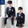Quality British Plaids Navy Blue Boys Girls Student Kids School Uniform Suits Set Blazer Coat Shirts Skirts Pants With Bow Tie