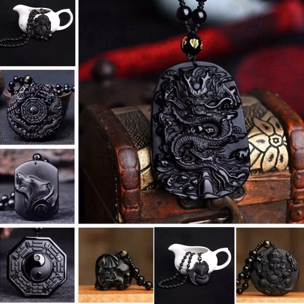 Lucky Amulet Buddha Pendant Necklace Natural Stone Chain Bead Obsidian Wolf Head Dragon Figure Tengfeng Lucky Wish Elephant Gift
