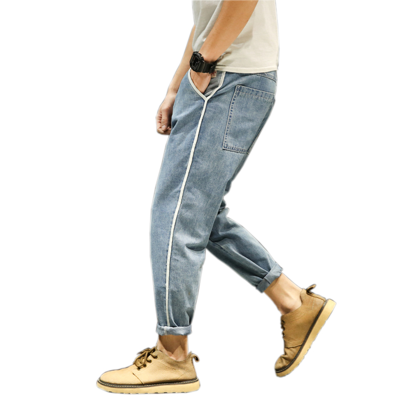2018 New Men`s Stylish Retro Blue Patch Loose Harem Pants Men Denim Pants Taper Fit Jeans Side Striped Stripe Casual Harems