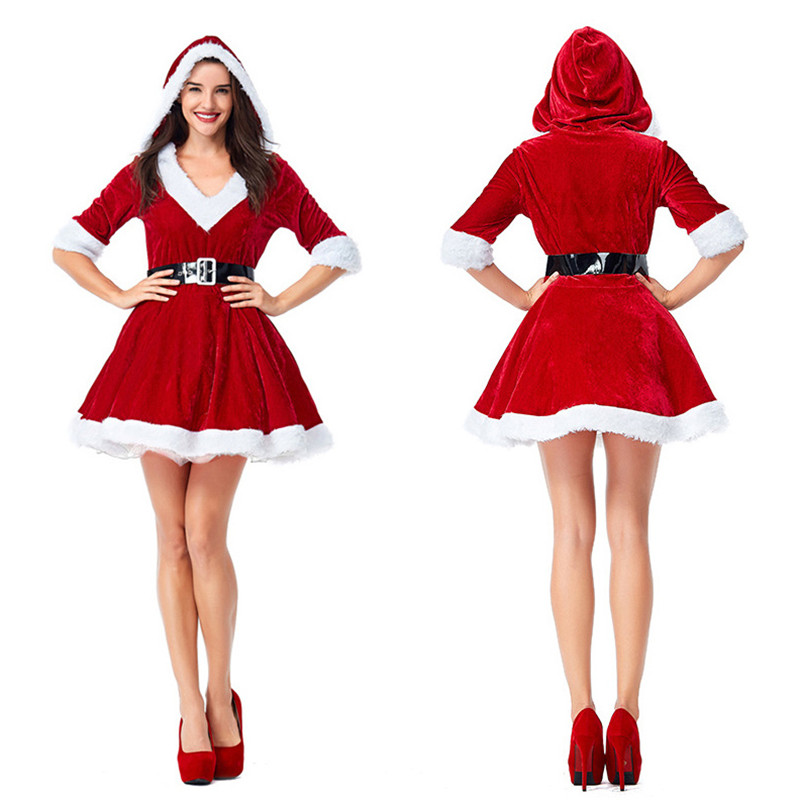 Corzzet Sexy Red Velvet Fur Christmas Dress Women Christmas