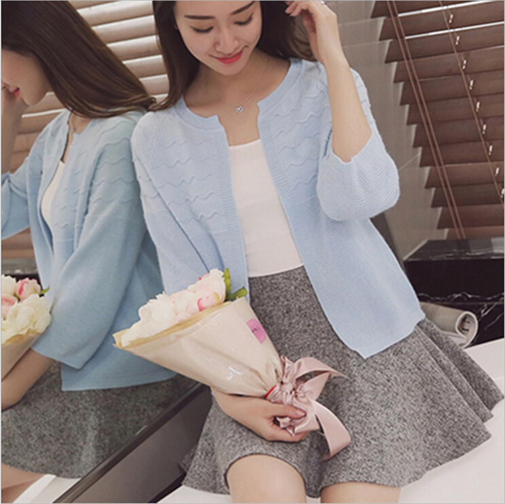 2016 Spring&Autumn Casual Sweater Women Cardigan Sweater Solid Color Open Stitch Women\'s Cotton Knitted Outerwear Sweater (31)