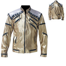 Rare PUNK Rock Motorcycle Classic MJ MICHAEL JACKSON Costume Beat it Golden Zipper Jacket For Fans Imitator Best Gift(China)