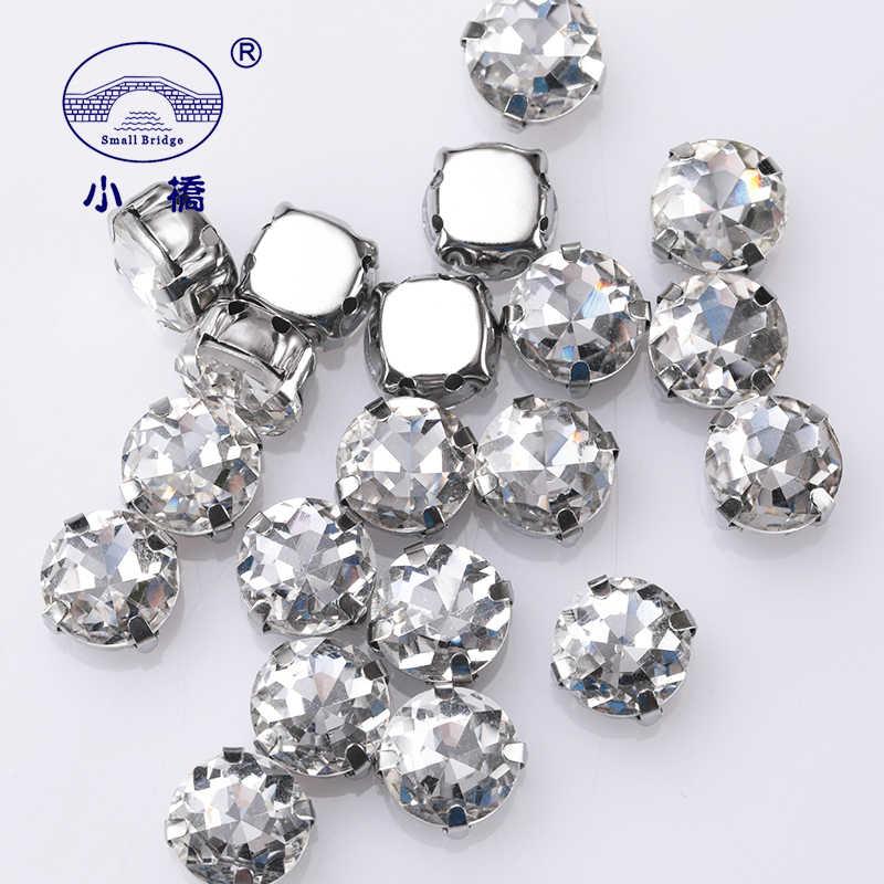 Glitter pedra de cristal redonda para a roupa solta diy decorativo strass colorido flatback pedras de costura de vidro com garra 10 peças s074