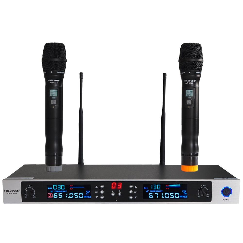 freeboss ar 8240 uhf wireless microphone system dual channel ir frequency wireless mic karoke. Black Bedroom Furniture Sets. Home Design Ideas