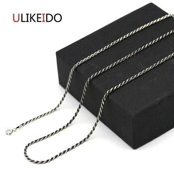 409a17b12ac7 925 joyería de plata esterlina collares bola colgante grano trenzado cáñamo  cuerda Charm Punk Link cadena