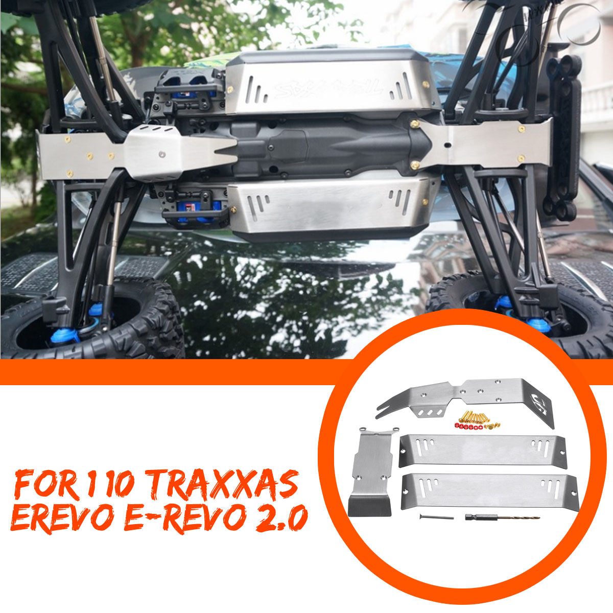 1 Set Stainless Steel Chassis Armor Skid Plate For 1/10 Traxxas ERevo E-Revo 2.0 RC Car Parts Chassis Armor Skid Plate1 Set Stainless Steel Chassis Armor Skid Plate For 1/10 Traxxas ERevo E-Revo 2.0 RC Car Parts Chassis Armor Skid Plate