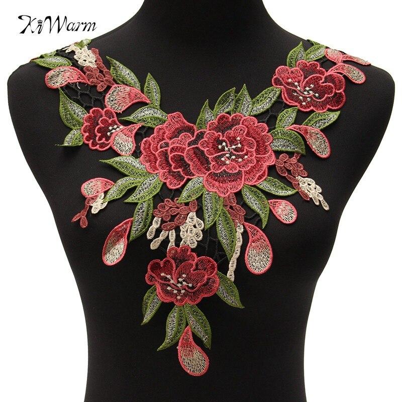 Rose Flower Motif Collar Sew Patch