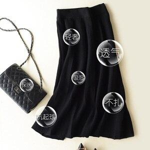 Image 2 - 秋冬新着 2018 女性のファッショントレンドハイウエスト A ラインのロングスカートカシミヤブレンドニットスカートマキシスカート