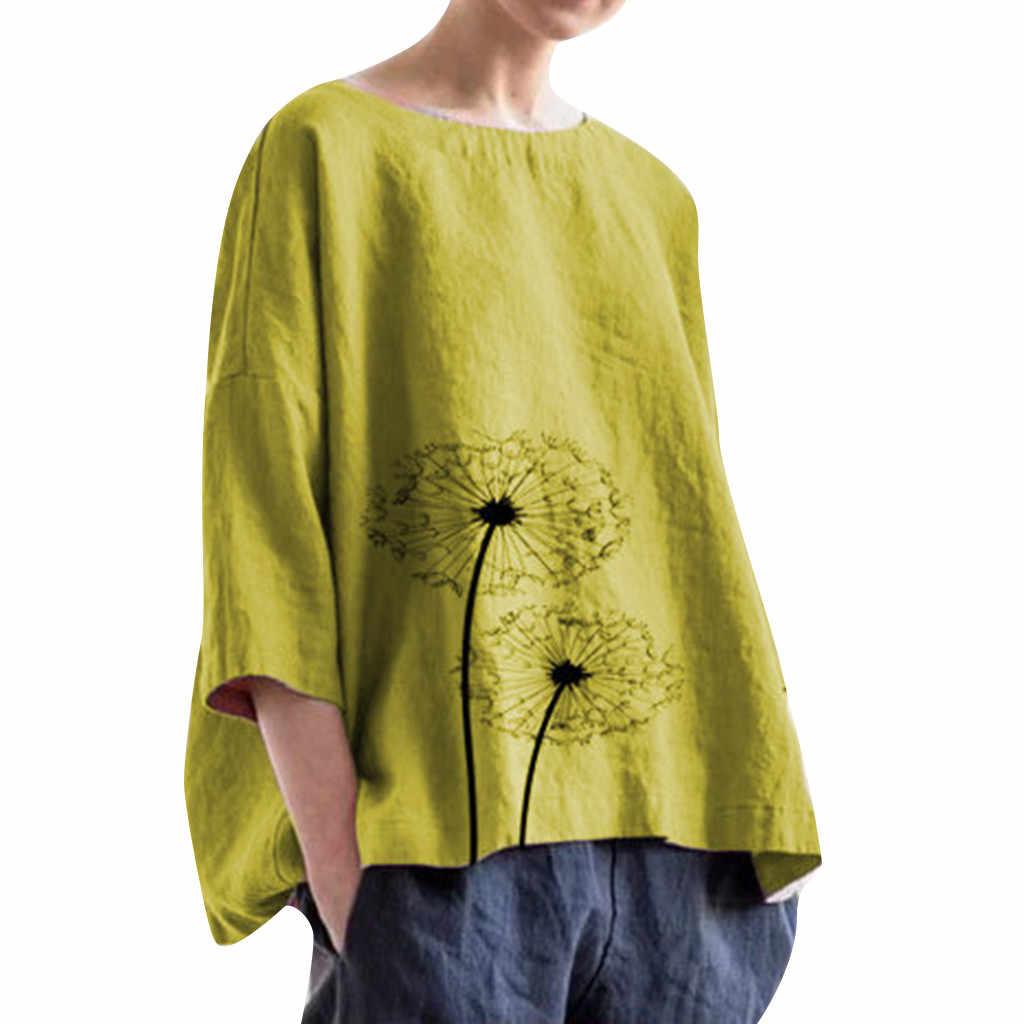 女性の綿の印刷ブラウスカジュアルプラスサイズの毎日ブラウスビーチシンプルなレディースストリートシャツトップス # 区